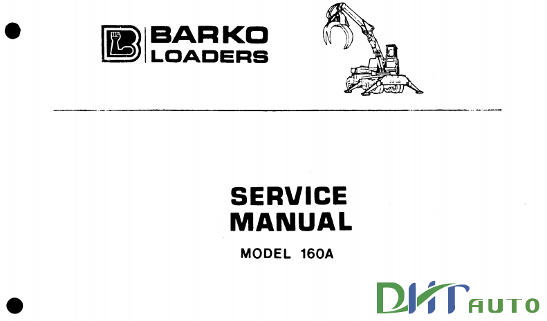 BARKO LOADERS MODEL 160A TRUCK MOUNT SERVICE MANUAL