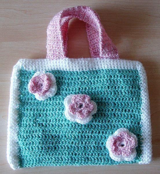 Basslady Creations Gehäkelte Kinder Tasche Mit Blumen