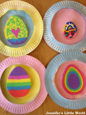 Paper plates and Hama bead Easter decorations