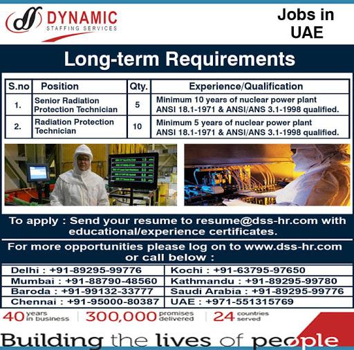 Senior Radiation Protection Technician Jobs in UAE