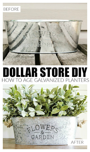 how to age galvanized planters