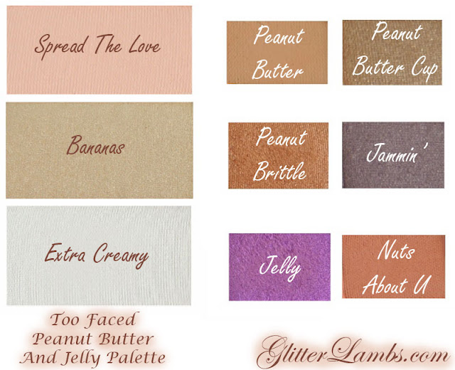 Too Faced Peanut Butter And Jelly Palette Makeup Swatches by Glitter Lambs www.GlitterLambs.com. Spread The Love, Bananas, Extra Creamy, Peanut Butter, Peanut Brittle, Jelly, Peanut Butter Cup, Jammin, Nuts About U, Eyeshadow Swatches of Too Faced makeup palette.