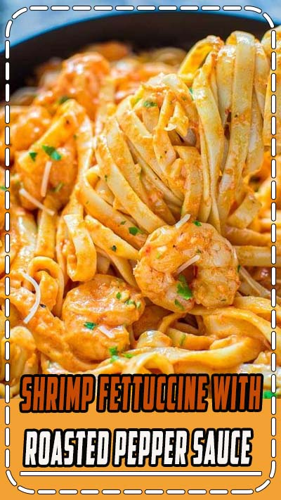 Rich and creamy, hearty and so flavorful, this Shrimp Fettuccine with Roasted