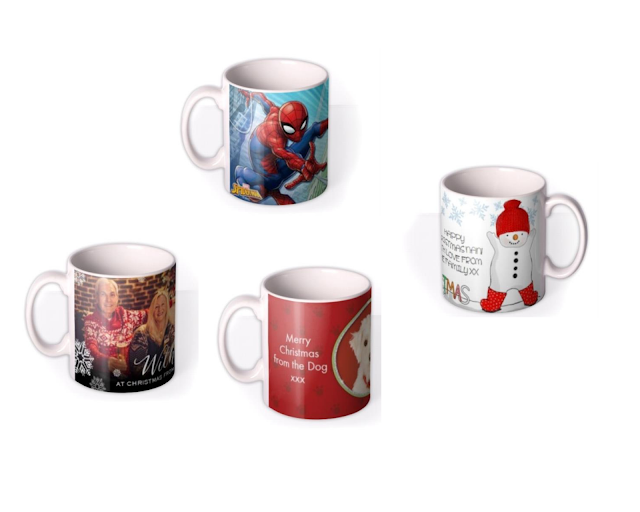 A selection of festive mugs from Moonpig, including Spiderman and a very jolly snowman