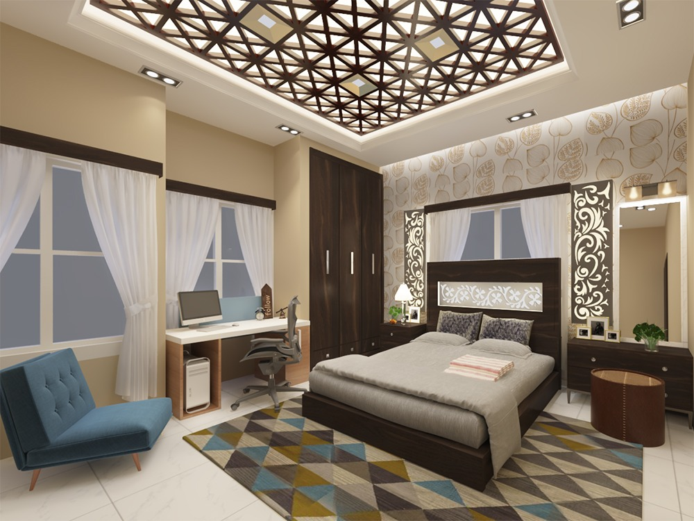 3D Bedroom Interior Scene Where I Tried The CNC Products For Indo Western  Style In 3DS Max 2017