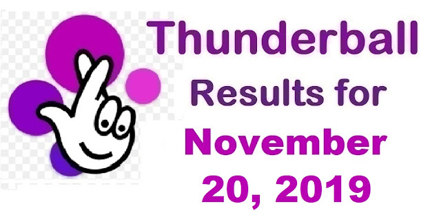 Thunderball Results for Wednesday, November 20, 2019