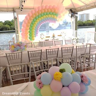 Rainbow pastel balloon arch