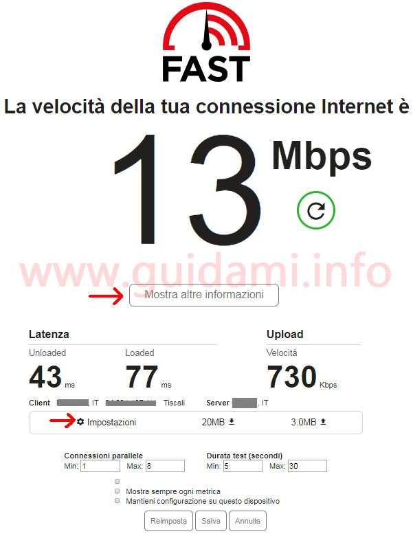 Fast.com risultati test velocità internet in download, upload e latenza più impostazioni