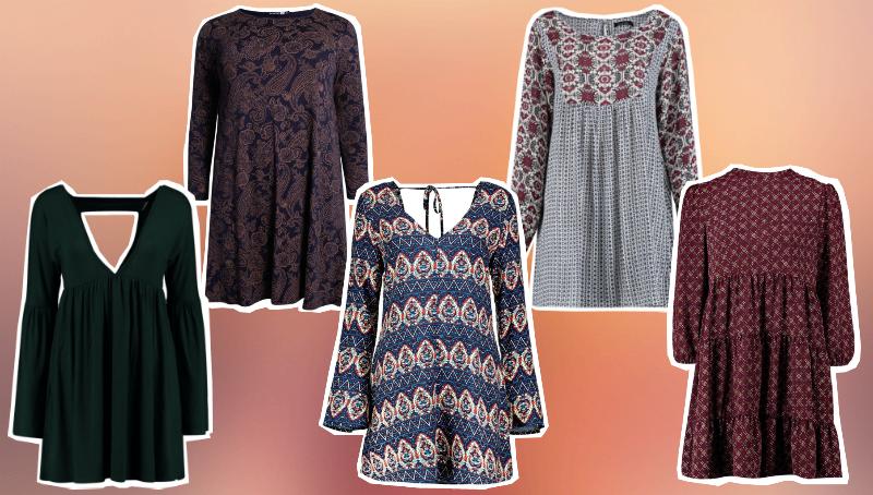 five boohoo smock style dresses