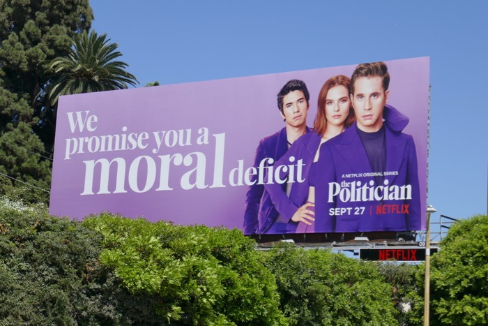 We promise you a moral deficit Politician billboard