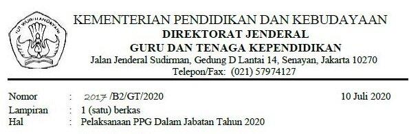 Pelaksanaan PPG Dalam Jabatan Tahun 2020