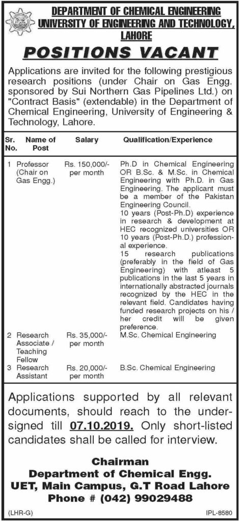 Latest Jobs in UET Lahore 2019, UET Lahore Jobs 2019 For Teaching Staff