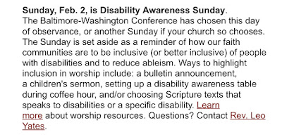 photo of an announcement, plain text, that February 2 is the conference date for Disability Awareness Sunday, and listing ways to participate.