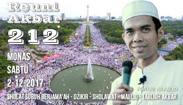 """Allahu Akbar!!!! Ustadz Abdul Somad Akan Ikut Hadir dan Mengisi """"Reuni Akbar 212"""" di Monas"""
