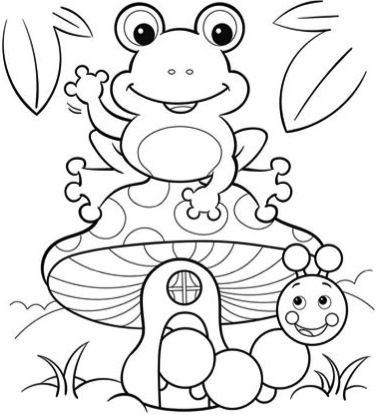 Jogo 30 desenhos de sapo para colorir, pintar, imprimir