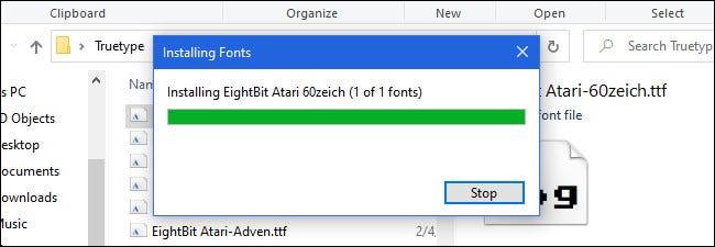 تثبيت الخطوط في نظام التشغيل Windows 10.