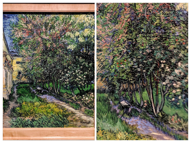 Two collaged photos show a portion of the painting and a detail of the brushstrokes.