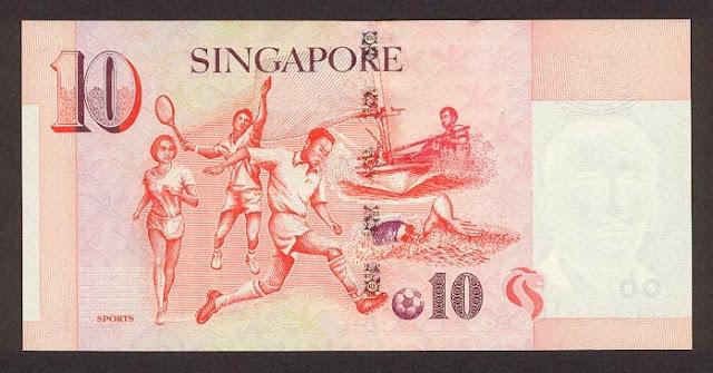 Singapore 10 dollars notes