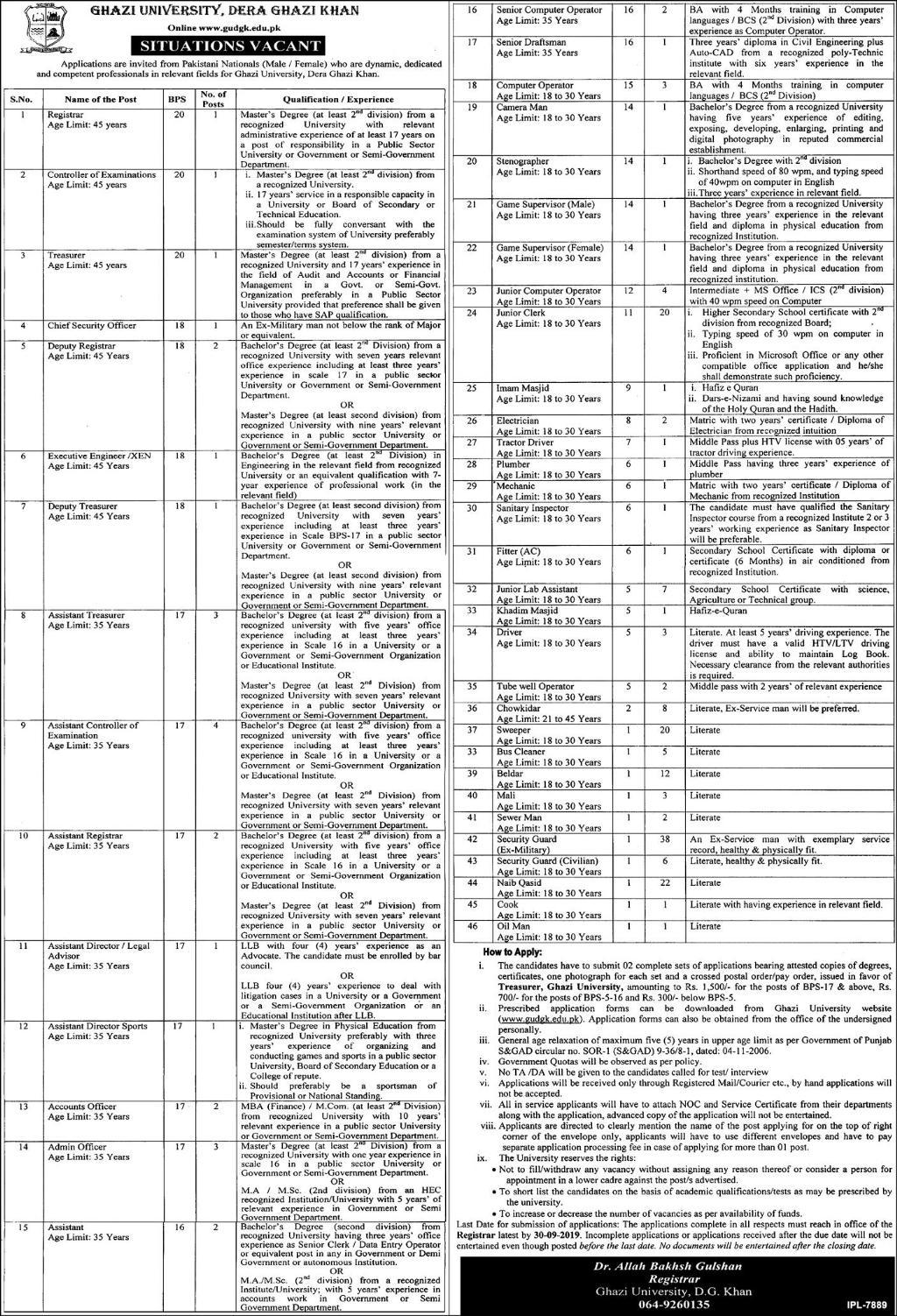 Jobs in Ghazi University DG Khan Jobs 2019 September