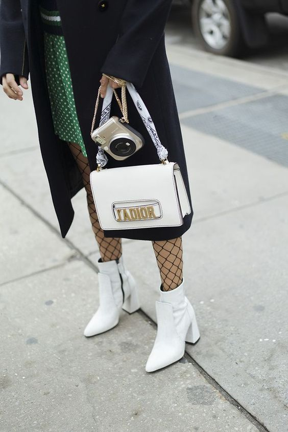 Fashion Week Dior Bag Fishnet Tights White Ankle Boots street style