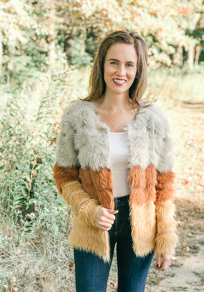 fall outfit style blogger striped fuzzy cardigan