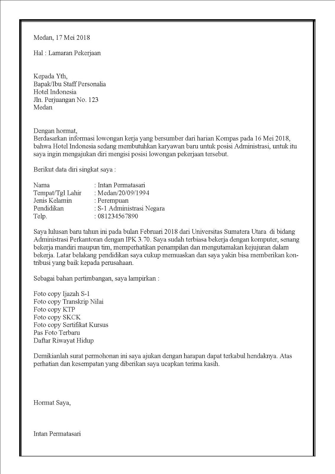 Contoh surat lamaran kerja di hotel untuk fresh graduate