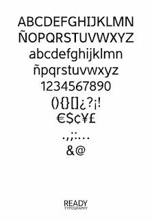 Cuadro de todos los caracteres de la tipografía Ready