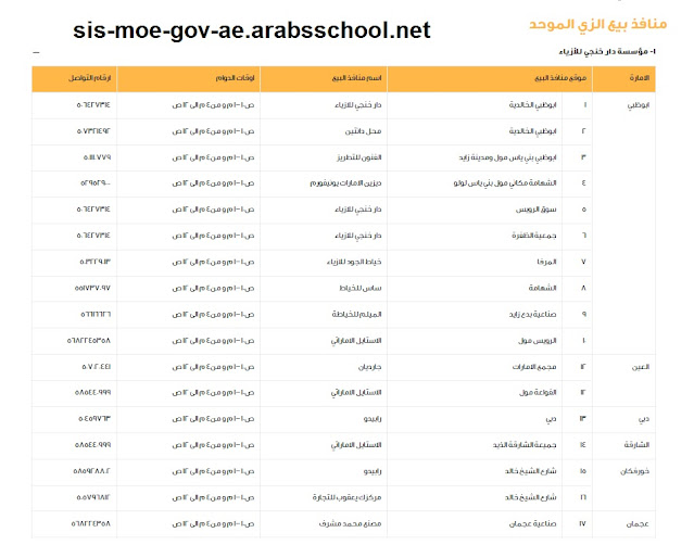 اسعار بيع الزي المدرسي الموحد مع منافذ البيع الجديد للعام الدراسي 2021-2022