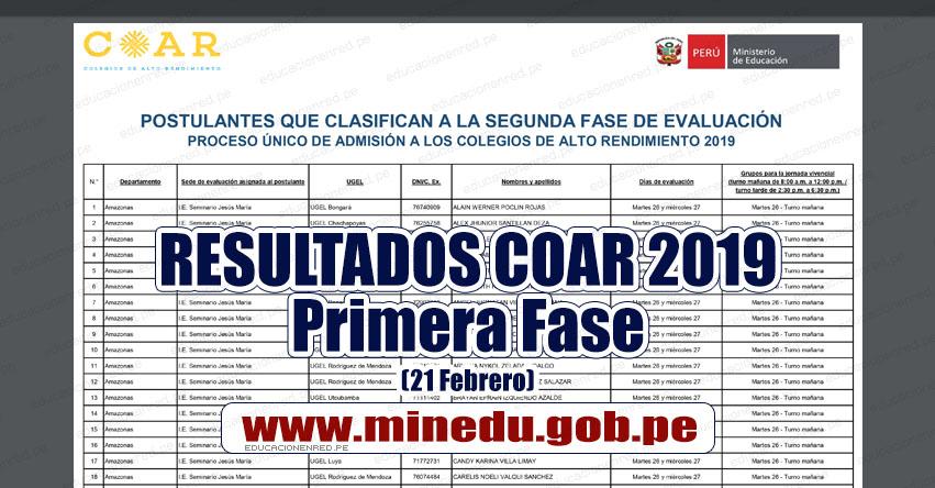 COAR 2019: Resultados Examen de Admisión Primera Fase - Colegios de Alto Rendimiento (Jueves 21 Febrero) MINEDU - www.minedu.gob.pe