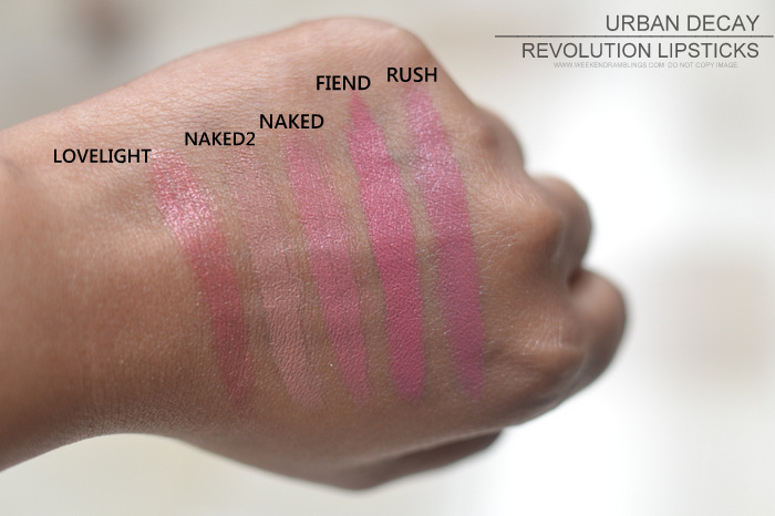 Urban Decay Revolution Lipsticks Indian Darker Skin Makeup Beauty Blog Swatches Naked2 Lovelight Fiend Rush Rapture Obsessed Turn On