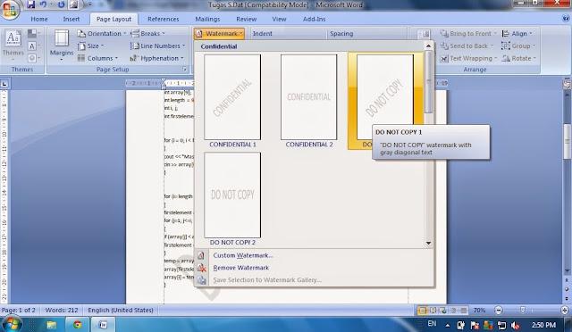 Cara Membuat Watermark (tulisan transparan) di Microsoft Word, tulisan transparan pada lembar kerja microsoft word, cara membuat tulisan transparan