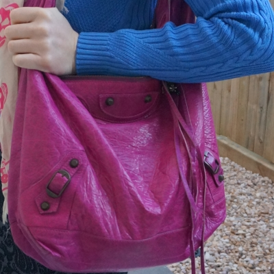 Balenciaga Day bag in 2005 magenta pink with cobalt knit | awayfromtheblue