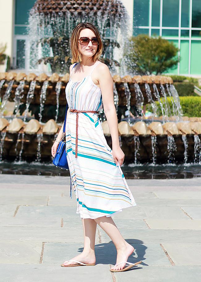 LC Lauren Conrad Striped Midi Dress Summer Outfit