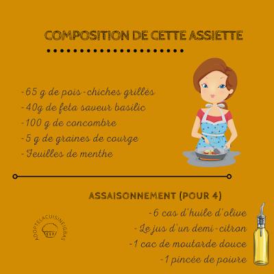 Salade composée - Recette végétarienne - Pois-chiches - légumineuses - Recette facile - IG bas