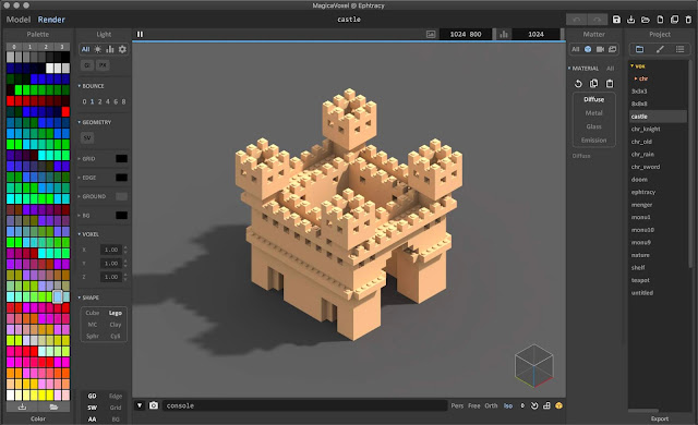 Voxel model rendered using the Lego shape