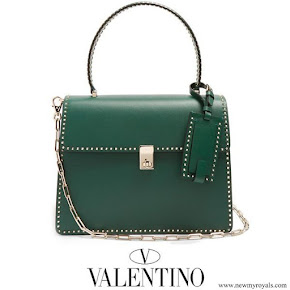 Queen Maxima carried Valentino Green Stud Stitching Leather Tote