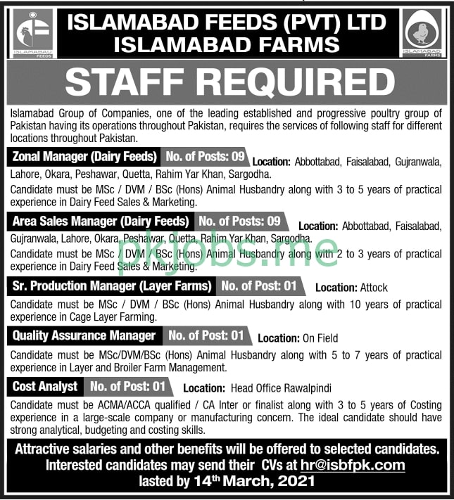 Latest Islamabad Feeds Private Limited Management Posts 2021