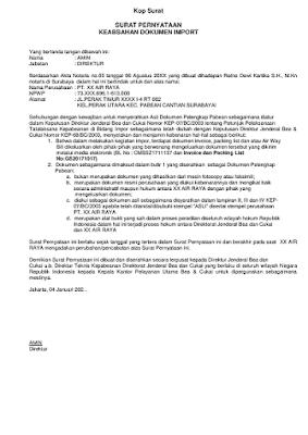 Contoh Surat Pernyataan Keabsahan Dokumen Import