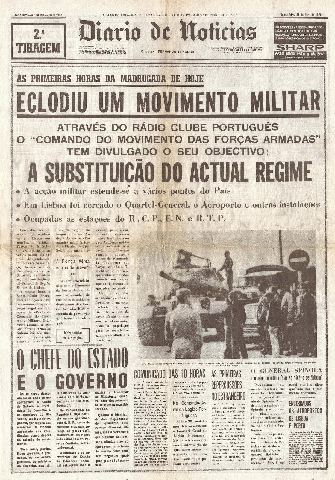Resultado de imagem para diário de notícias 25 de Abril