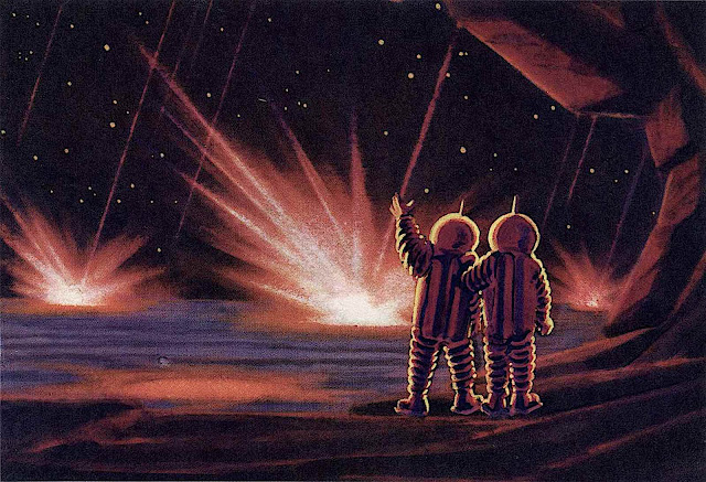 an Andrey Sokolov illustration of cosmonauts sheltering from a meteor storm