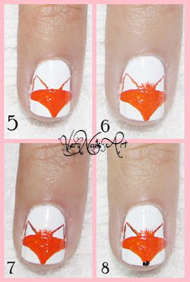 Decoración de uñas con zorro paso a paso 2