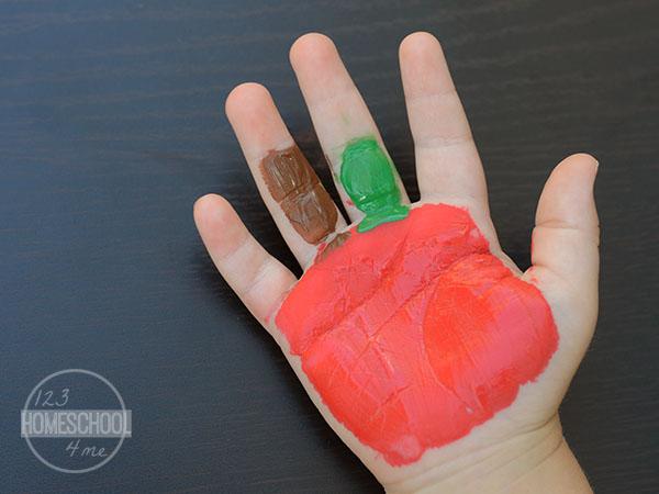 handprint apple craft for kids, september crafts