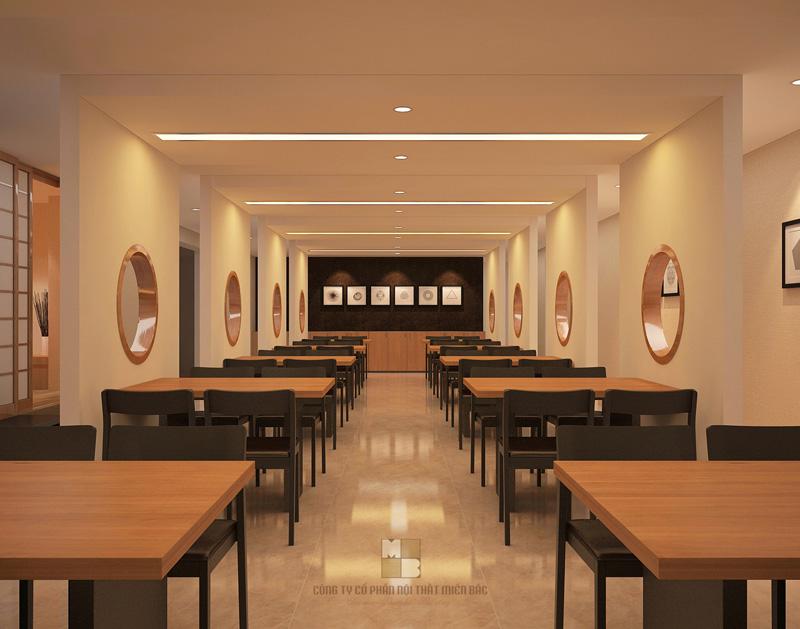 Thiết kế nhà hàng Nhật không gian ăn uống tối giản
