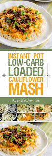 Instant Pot (or Stovetop) Low-Carb Loaded Cauliflower Mash found on KalynsKitchen.com