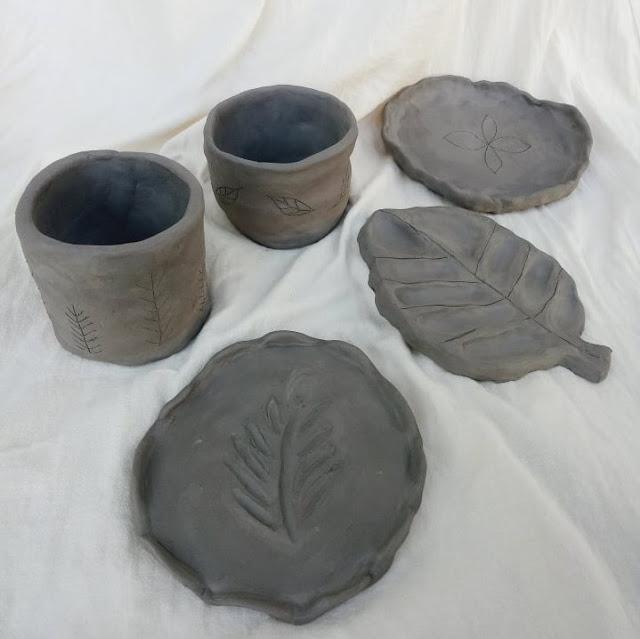Kibo studio handbuilding pottery bone dry pieces
