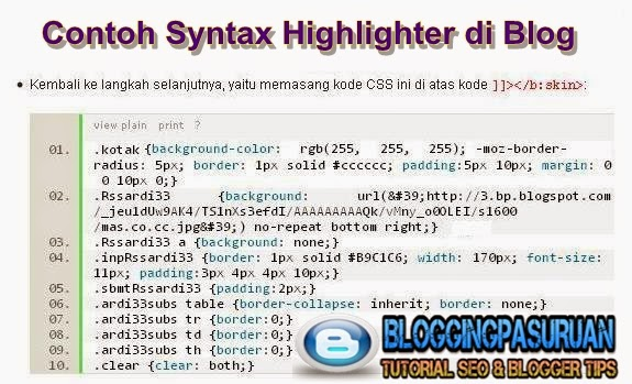 Cara Membuat Syntax Highlighter di Blog