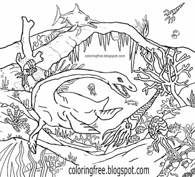Long neck dinosaur prehistoric ocean bed floor under the sea creature coloring page for kids complex