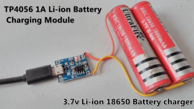 Rangkaian charger baterai 18650 Lithium 3.7v