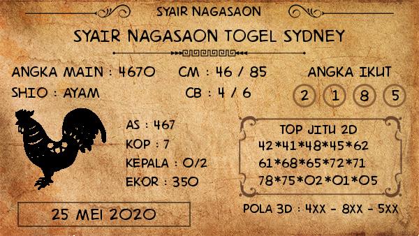 Prediksi Togel Sydney Senin 25 Mei 2020 - Nagasaon