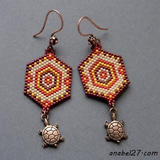 украшения в этно стиле из бисера сережки с черпашками
